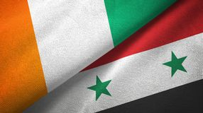 Cote d ?pa?o de la materia textil de las banderas de Ivoire y de Siria dos, textura de la tela ilustración del vector