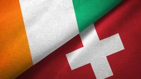 Cote d ?pa?o de la materia textil de las banderas de Ivoire y de Suiza dos, textura de la tela stock de ilustración