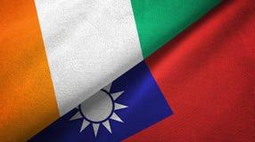 Cote d ?pa?o de la materia textil de las banderas de Ivoire y de Taiw?n dos, textura de la tela libre illustration