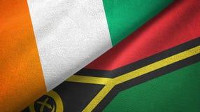 Cote d ?pa?o de la materia textil de las banderas de Ivoire y de Vanuatu dos, textura de la tela stock de ilustración