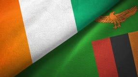 Cote d ?pa?o de la materia textil de las banderas de Ivoire y de Zambia dos, textura de la tela libre illustration