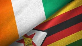 Cote d ?pa?o de la materia textil de las banderas de Ivoire y de Zimbabwe dos, textura de la tela ilustración del vector