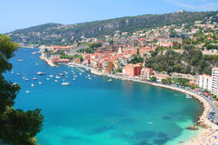 Cote d'Azur. Beautiful bay of Villefranche-sur-mer in the Cote d'Azur in France royalty free stock image