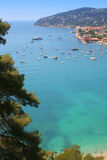 Cote d'Azur. Beautiful harbour of Villefranche-sur-mer in the Cote d'Azur in France royalty free stock image