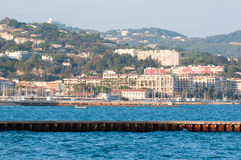 Cote d'Azur coast. Coastline of Mandelieu la-Napoule, Cote d'Azur , France. View towards Cannes stock image
