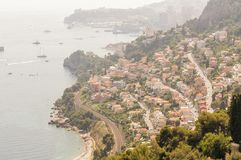 Panoramic view of the gulf of Cabbé Cap Martin and Montecarlo Principality of Monaco royalty free stock photos