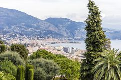 Panoramic view of Menton in a spring day royalty free stock photos