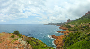 Cote d'Azur i Frankrike, panorama Fotografering för Bildbyråer