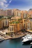 COTE D`AZUR View of Monaco harbour stock images