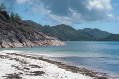Cote D'Or beach Praslin Seychelles Royalty Free Stock Photography