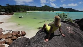 Cote d'Or bei Praslin stock footage