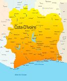 Cote d'Ivoire. Abstract vector color map of Cote d'Ivoire country Royalty Free Stock Photos