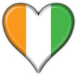 Cote d'ivoire button flag heart shape Stock Images