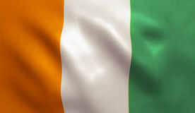 Cote d`Ivoire Flag. Ivory Coast / Cote d`Ivoire flag with fabric texture. 3D illustration Royalty Free Stock Photo