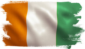 Cote d`Ivoire Flag. Ivory Coast / Cote d`Ivoire flag with fabric texture. 3D illustration Royalty Free Stock Image