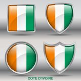 Cote D`ivoire Flag in 4 shapes collection with clipping path stock photo