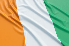 Cote d`Ivoire flag. Wavy fabric high detailed texture. 3d illustration rendering Stock Images