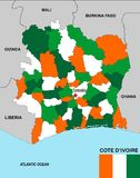 Cote d'ivoire map Stock Images