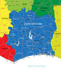 Cote d'Ivoire map. Highly detailed vector map of Cote d'Ivoire with administrative regions, main cities and roads Royalty Free Stock Photo