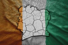 Cote d'Ivoire Map. Map of Cote d'Ivoire in National flag colors Royalty Free Stock Photos