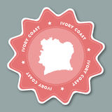 Cote D`Ivoire map sticker in trendy colors. Stock Image