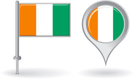 Cote d Ivoire pin icon and map pointer flag Stock Images
