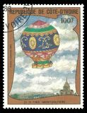 First Ascent in a balloon, 1783 Montgolfiere stock image
