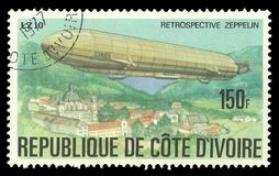 Zeppelin Schwaben LZ10. Cote d`Ivoire - stamp printed in1977, Multicolor memorable Edition offset printing, Topic Aviation, Series History of the Zeppelin Stock Photo