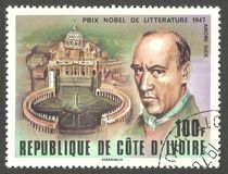 Andre Gide. Cote d`Ivoire - stamp printed in1978, Series Winners of the Nobel Prize, Andre Gide Stock Image