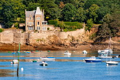 Cote de Granit Rose coast, France. Old gothic castle on Cote de Granit Rose coast, Brittany, France royalty free stock photo