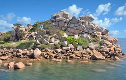 Cote de Granite Rose, Ploumanach, Βρετάνη, Γαλλία Στοκ εικόνα με δικαίωμα ελεύθερης χρήσης