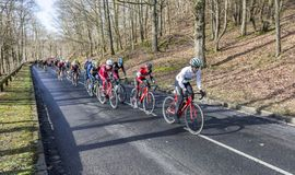 The Peloton - Paris-Nice 2017 stock photo