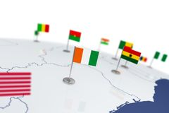 Cote divoire flag. Country flag with chrome flagpole on the world map with neighbors countries borders. 3d illustration rendering Royalty Free Stock Image