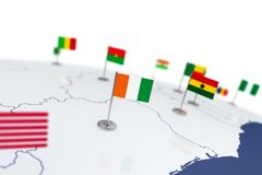 Cote Divoire flag. Country flag with chrome flagpole on the world map with neighbors countries borders. 3d illustration rendering flag Royalty Free Stock Photos