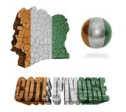 Cote dIvoire Symbols. Cote dIvoire flag and map in different styles in different textures Stock Photography