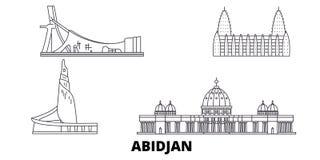 Cote Divoire, línea sistema de Abiyán del horizonte del viaje Cote Divoire, ejemplo del vector de la ciudad del esquema de Abiyán libre illustration