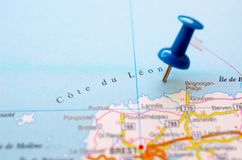Cote du Leon on map. With push pin. Brignogan Plage stock photography