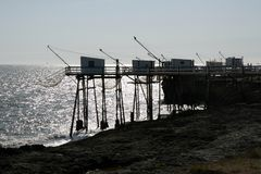 Cote Sauvage. Fish huts on stilts, Charente Maritime, France royalty free stock photography