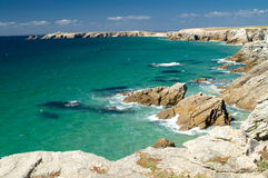 Cote Sauvage. Cliffs and sea, Cote Sauvage, Britany, France royalty free stock images
