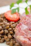 Cotechino and lentils Royalty Free Stock Photos