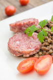 Cotechino and lentils Royalty Free Stock Images