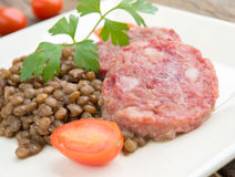 Cotechino and lentils Stock Photos