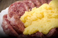 Cotechino with polenta Royalty Free Stock Image