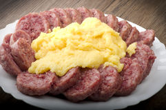 Cotechino with polenta Stock Images