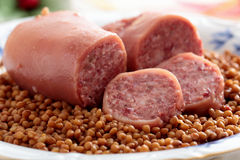 Cotechino trotter sausage with lentils. Tradicional Cristmas gastronomy cotechino trotter sausage with lentils Royalty Free Stock Photo