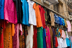 Cothing for sale in Bazaar. Clothing on display for sale in Khan el-Khalili Bazzar in Cairo Royalty Free Stock Images