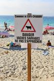 Coti Chiavari, Corsica, France. 20th July 2016. The beach. A sign warning at the beach Stock Photography