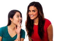 Cotilleo bonito de dos chicas jóvenes Foto de archivo libre de regalías