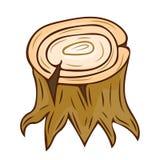 Coto de árvore com as raizes isoladas Imagens de Stock