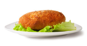 Cotoletta del pollo sul piatto bianco Fotografia Stock
